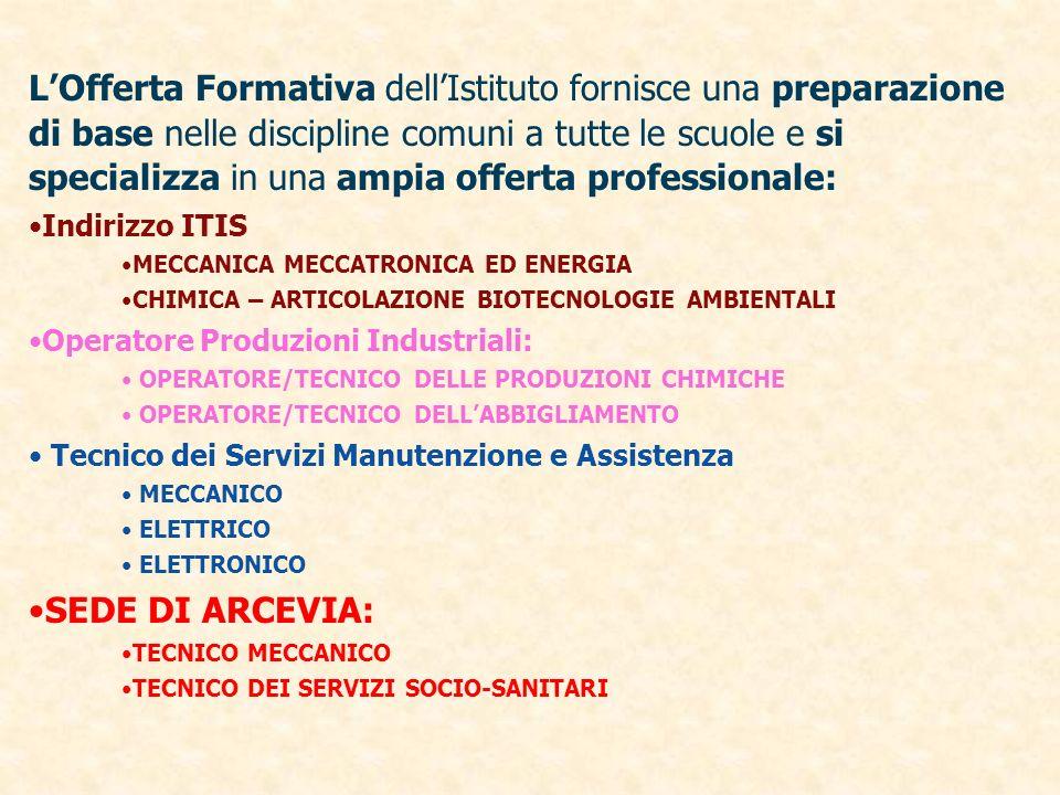 LOfferta Formativa dellIstituto fornisce una preparazione di base nelle discipline comuni a tutte le scuole e si specializza in una ampia offerta prof