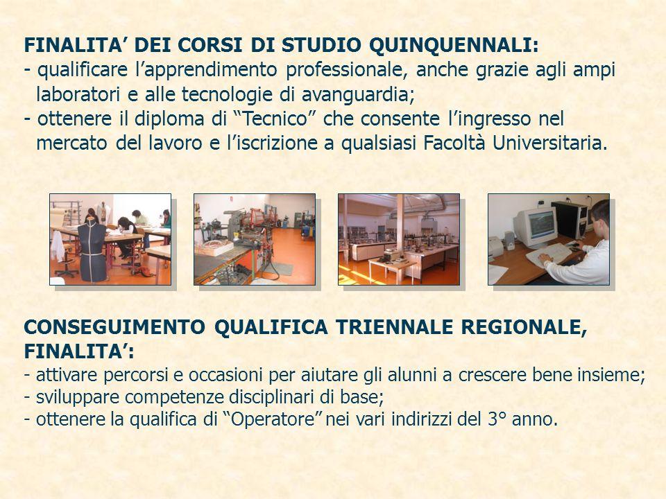 FINALITA DEI CORSI DI STUDIO QUINQUENNALI: - qualificare lapprendimento professionale, anche grazie agli ampi laboratori e alle tecnologie di avanguar