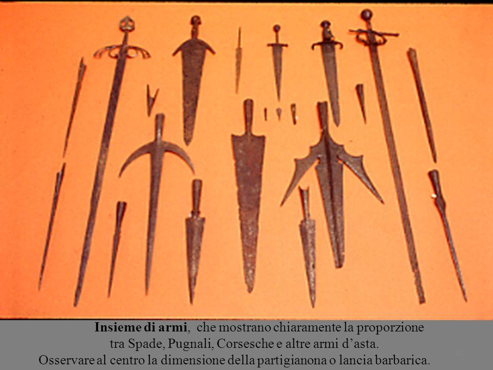 42 Insieme di armi, che mostrano chiaramente la proporzione tra Spade, Pugnali, Corsesche e altre armi dasta. Osservare al centro la dimensione della