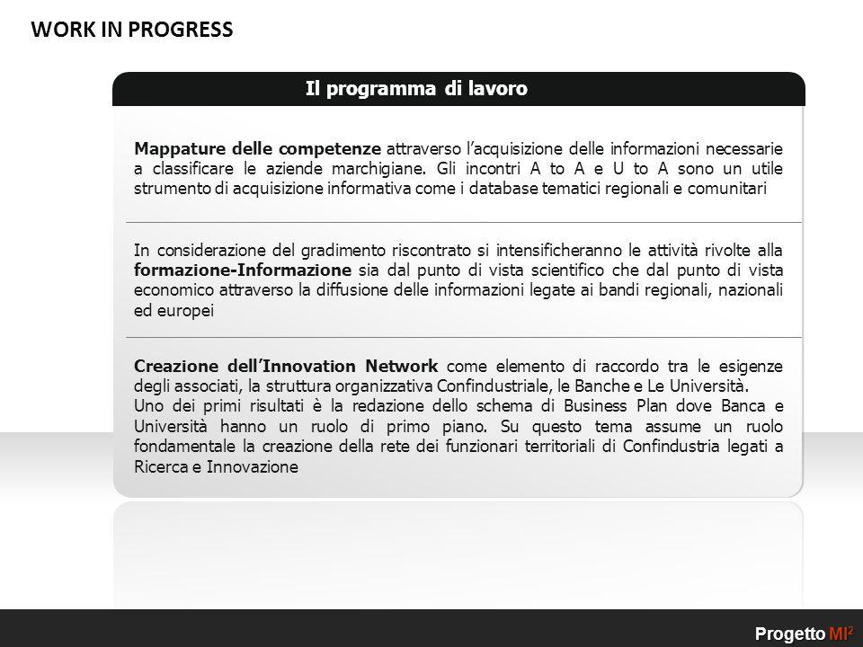Il programma di lavoro Mappature delle competenze attraverso lacquisizione delle informazioni necessarie a classificare le aziende marchigiane. Gli in