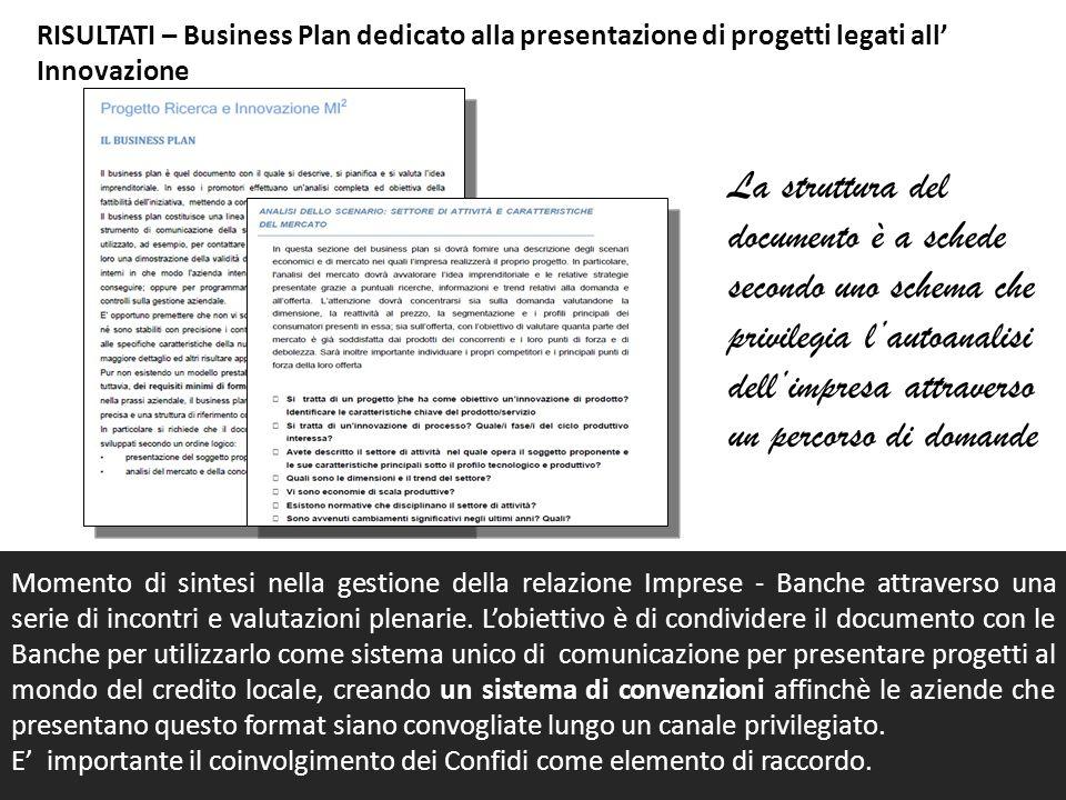 RISULTATI – Business Plan dedicato alla presentazione di progetti legati all Innovazione Momento di sintesi nella gestione della relazione Imprese - B