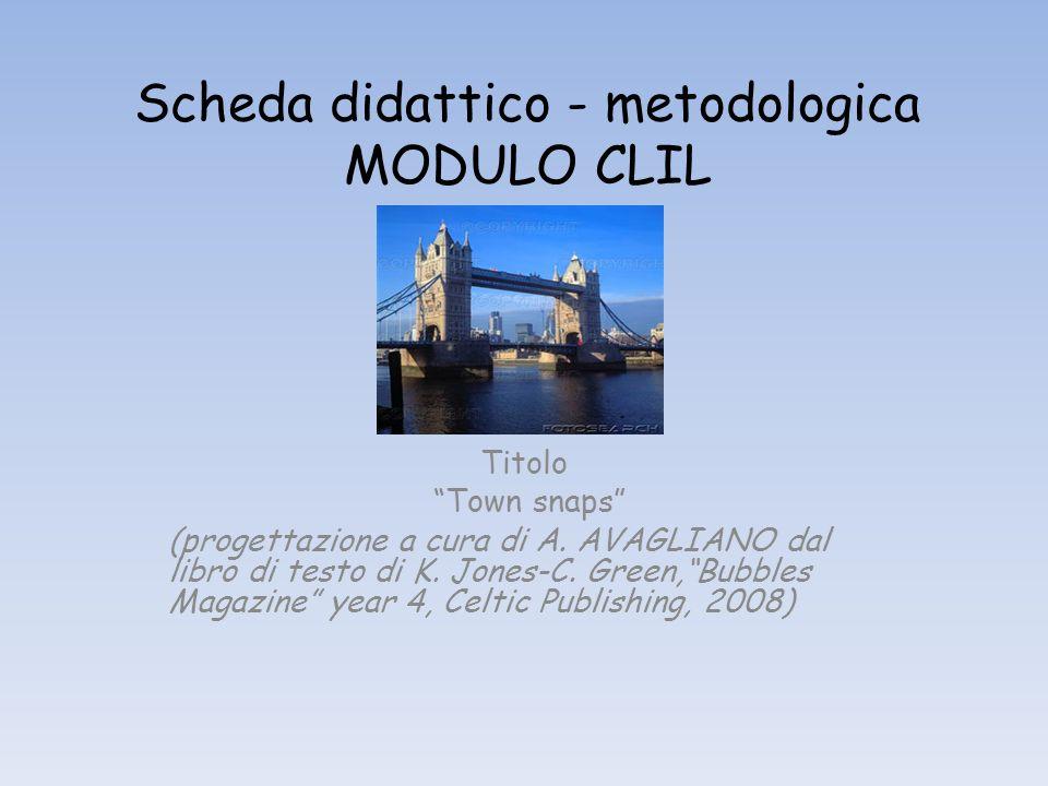 Scheda didattico - metodologica MODULO CLIL Titolo Town snaps (progettazione a cura di A. AVAGLIANO dal libro di testo di K. Jones-C. Green,Bubbles Ma