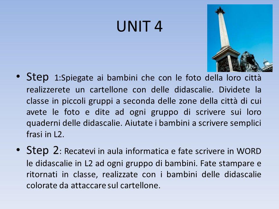 UNIT 4 Step 1:Spiegate ai bambini che con le foto della loro città realizzerete un cartellone con delle didascalie. Dividete la classe in piccoli grup
