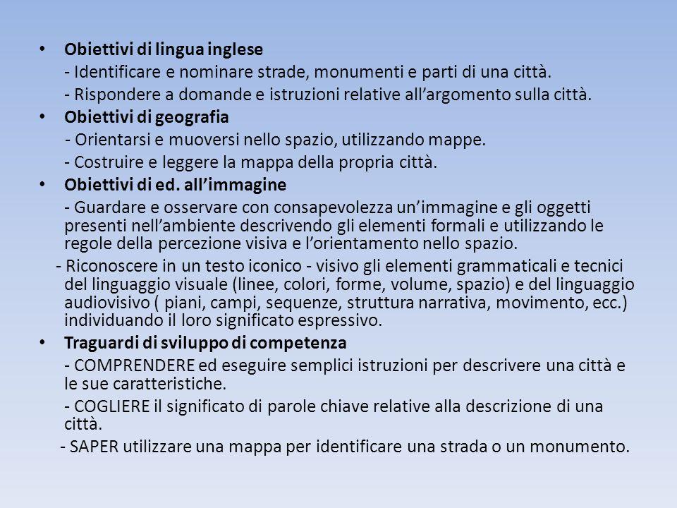 Obiettivi di lingua inglese - Identificare e nominare strade, monumenti e parti di una città. - Rispondere a domande e istruzioni relative allargoment