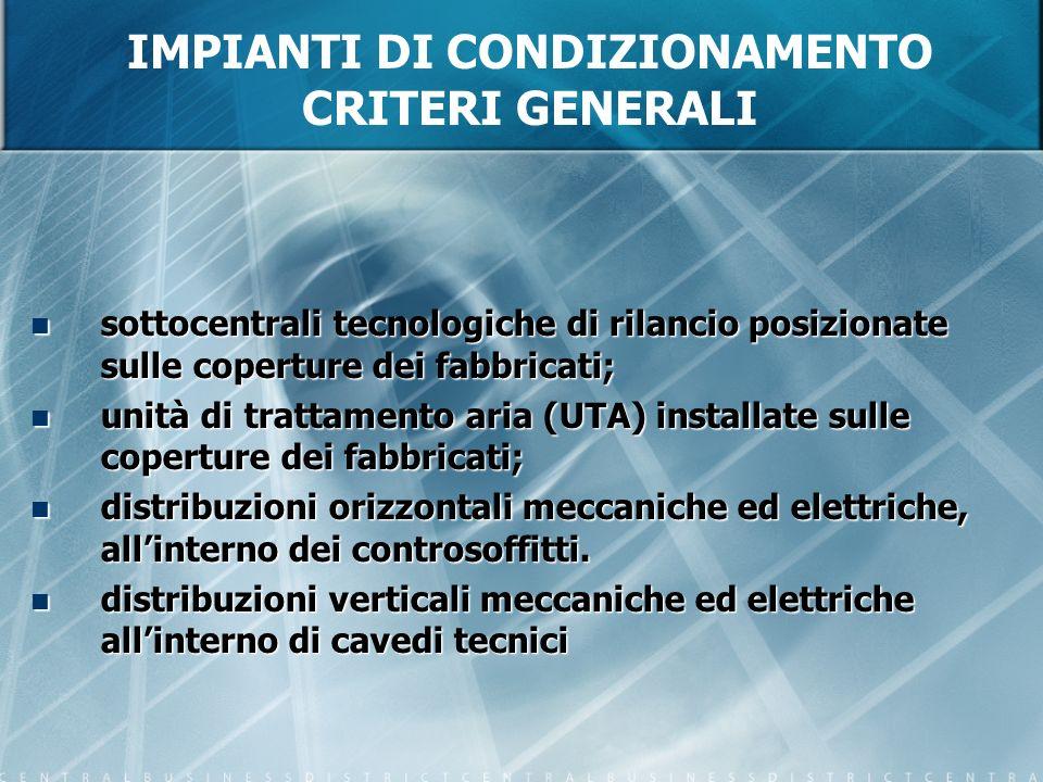IMPIANTI DI CONDIZIONAMENTO CRITERI GENERALI sottocentrali tecnologiche di rilancio posizionate sulle coperture dei fabbricati; sottocentrali tecnolog