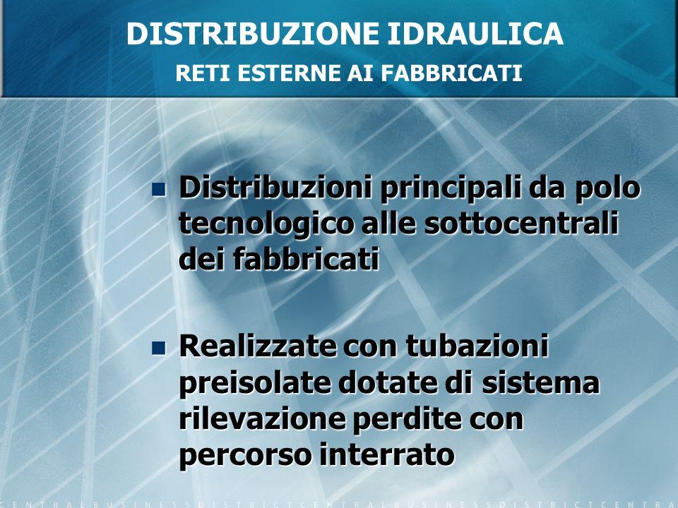 DISTRIBUZIONE IDRAULICA RETI ESTERNE AI FABBRICATI Distribuzioni principali da polo tecnologico alle sottocentrali dei fabbricati Distribuzioni princi
