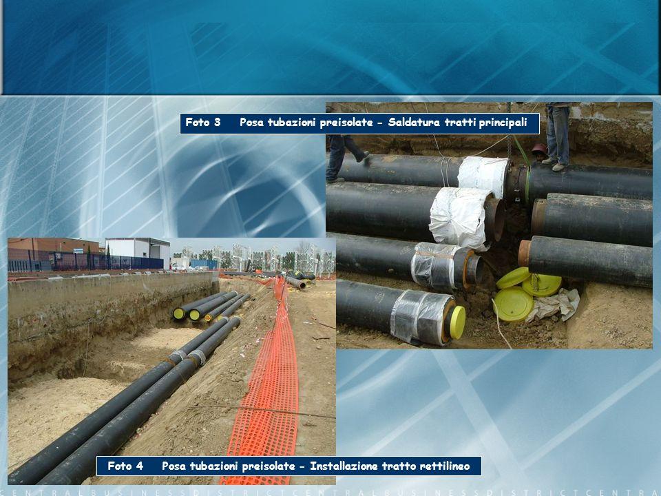 Foto 3 Posa tubazioni preisolate - Saldatura tratti principali Foto 4 Posa tubazioni preisolate - Installazione tratto rettilineo