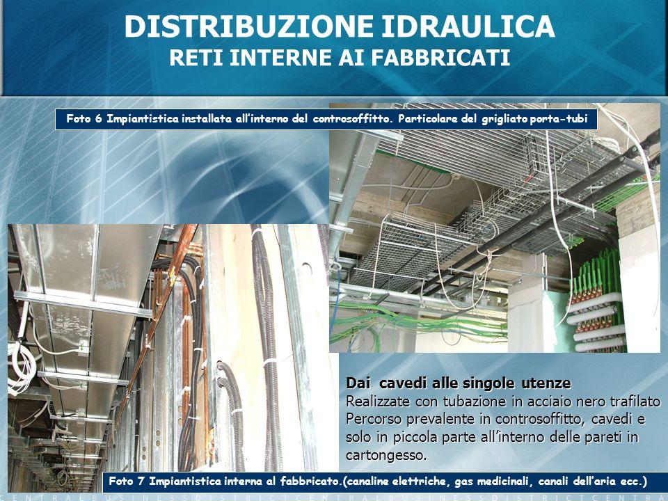 DISTRIBUZIONE IDRAULICA RETI INTERNE AI FABBRICATI Foto 7 Impiantistica interna al fabbricato.(canaline elettriche, gas medicinali, canali dellaria ec