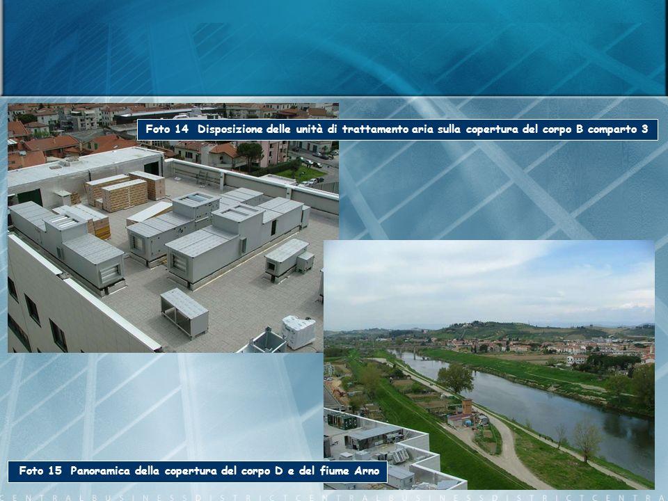 Foto 14 Disposizione delle unità di trattamento aria sulla copertura del corpo B comparto 3 Foto 15 Panoramica della copertura del corpo D e del fiume