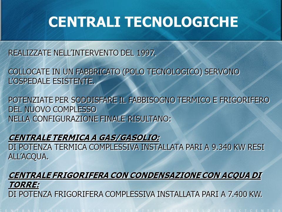 CENTRALI TECNOLOGICHE REALIZZATE NELLINTERVENTO DEL 1997. COLLOCATE IN UN FABBRICATO (POLO TECNOLOGICO) SERVONO LOSPEDALE ESISTENTE. POTENZIATE PER SO
