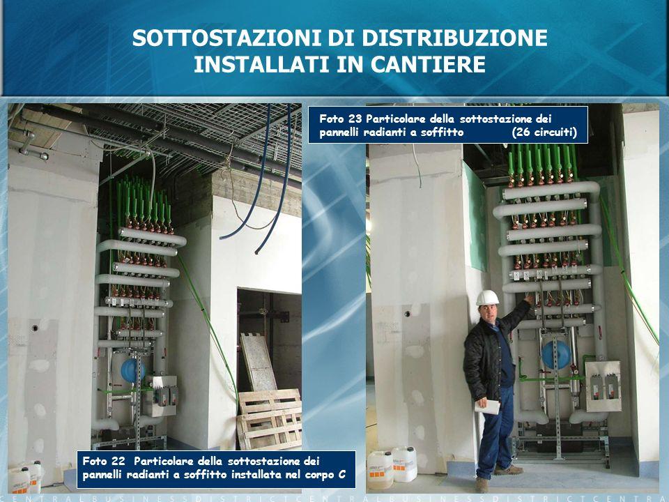 SOTTOSTAZIONI DI DISTRIBUZIONE INSTALLATI IN CANTIERE Foto 22 Particolare della sottostazione dei pannelli radianti a soffitto installata nel corpo C