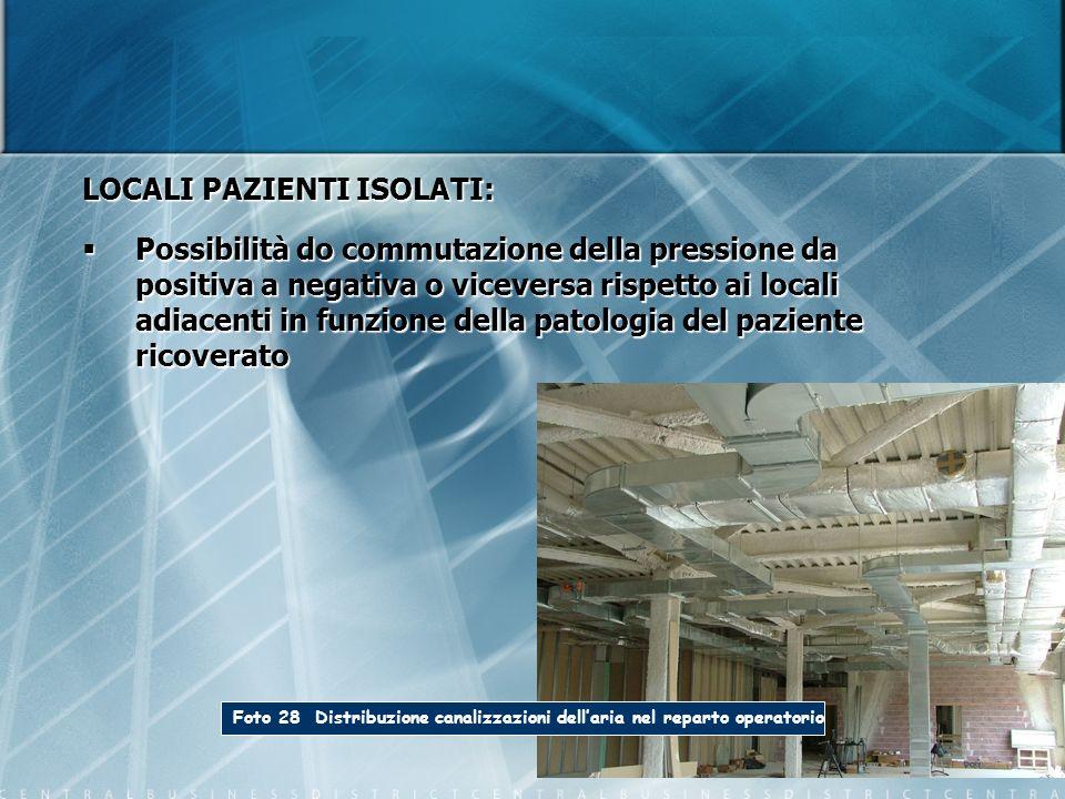 Foto 28 Distribuzione canalizzazioni dellaria nel reparto operatorio LOCALI PAZIENTI ISOLATI: Possibilità do commutazione della pressione da positiva