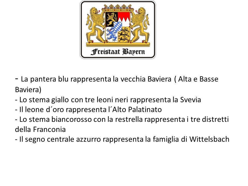 - La pantera blu rappresenta la vecchia Baviera ( Alta e Basse Baviera) - Lo stema giallo con tre leoni neri rappresenta la Svevia - Il leone d´oro ra