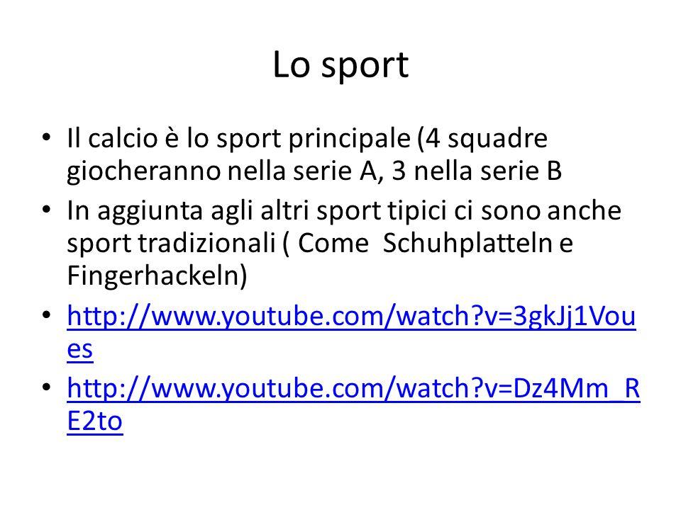 Lo sport Il calcio è lo sport principale (4 squadre giocheranno nella serie A, 3 nella serie B In aggiunta agli altri sport tipici ci sono anche sport tradizionali ( Come Schuhplatteln e Fingerhackeln) http://www.youtube.com/watch?v=3gkJj1Vou es http://www.youtube.com/watch?v=3gkJj1Vou es http://www.youtube.com/watch?v=Dz4Mm_R E2to http://www.youtube.com/watch?v=Dz4Mm_R E2to