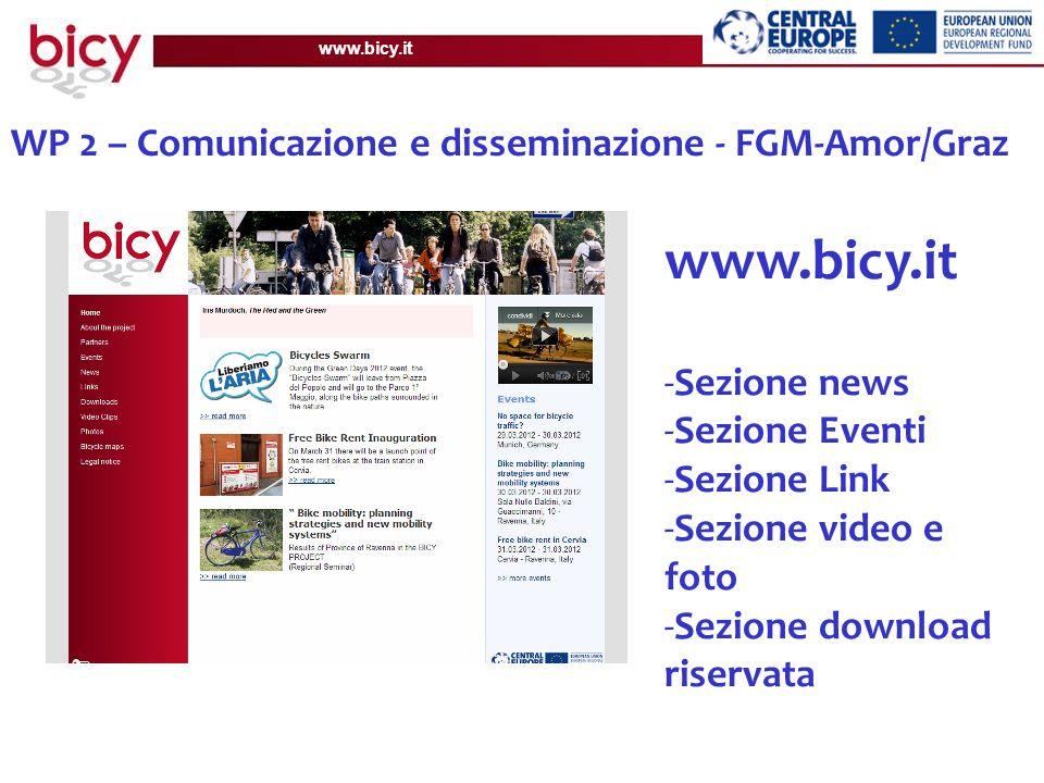 www.bicy.it WP 2 – Comunicazione e disseminazione - FGM-Amor/Graz Disponibili in Inglese Disponibili in: EN, DE, IT, SI, SK, HU and CZ Disponibili in: EN, DE, IT, SI, SK, HU, CZ and PL