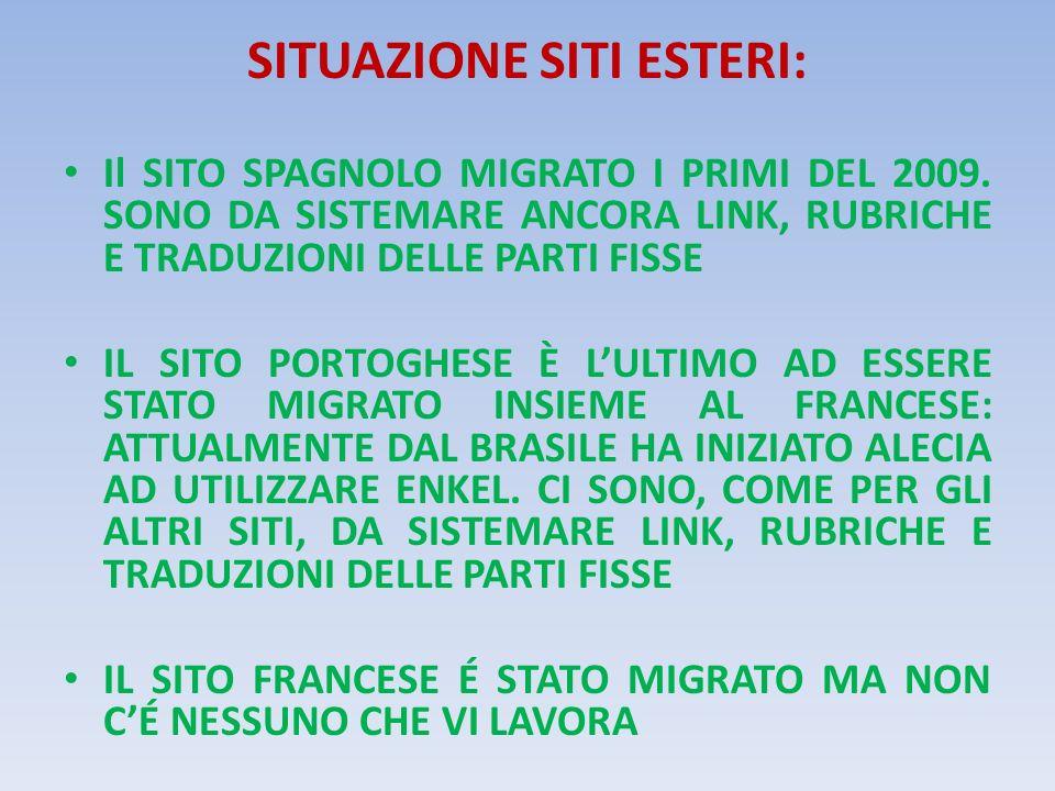 SITUAZIONE SITI ESTERI: Il SITO SPAGNOLO MIGRATO I PRIMI DEL 2009.