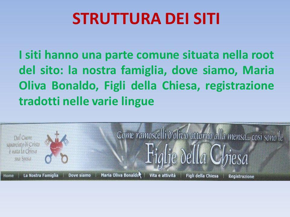 STRUTTURA DEI SITI I siti hanno una parte comune situata nella root del sito: la nostra famiglia, dove siamo, Maria Oliva Bonaldo, Figli della Chiesa, registrazione tradotti nelle varie lingue
