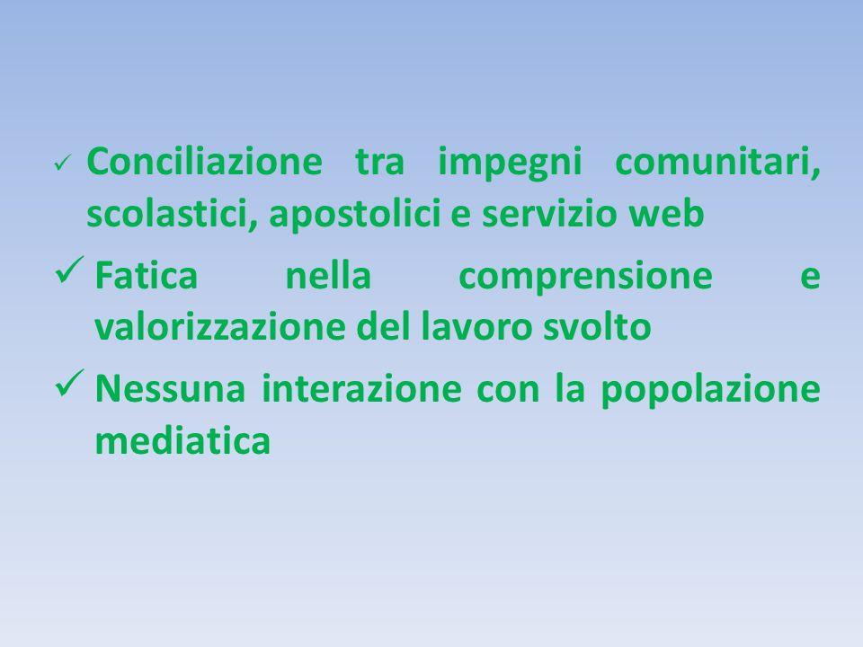 Conciliazione tra impegni comunitari, scolastici, apostolici e servizio web Fatica nella comprensione e valorizzazione del lavoro svolto Nessuna interazione con la popolazione mediatica