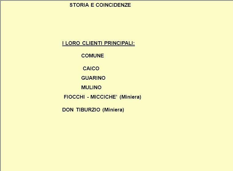 STORIA E COINCIDENZE I LORO CLIENTI PRINCIPALI: COMUNE CAICO GUARINO MULINO FIOCCHI - MICCICHE (Miniera) DON TIBURZIO (Miniera) STORIA E COINCIDENZE I LORO CLIENTI PRINCIPALI: COMUNE CAICO GUARINO MULINO FIOCCHI - MICCICHE (Miniera) DON TIBURZIO (Miniera)