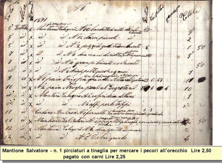 Mantione Salvatore - n. 1 pirciaturi a tinaglia per mercare i pecori allorecchio Lire 2,50 pagato con carni Lire 2,25
