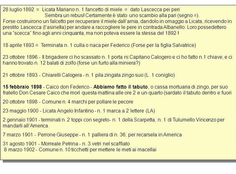28 luglio 1892 = Licata Mariano n. 1 fancetto di miele = dato Lascecca pei peri Sembra un rebus! Certamente è stato uno scambio alla pari (segno =). F