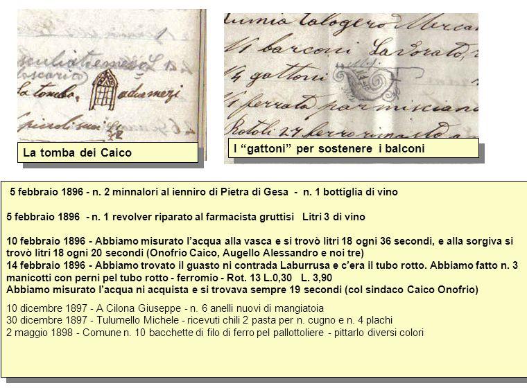 5 febbraio 1896 - n. 2 minnalori al ienniro di Pietra di Gesa - n. 1 bottiglia di vino 5 febbraio 1896 - n. 1 revolver riparato al farmacista gruttisi