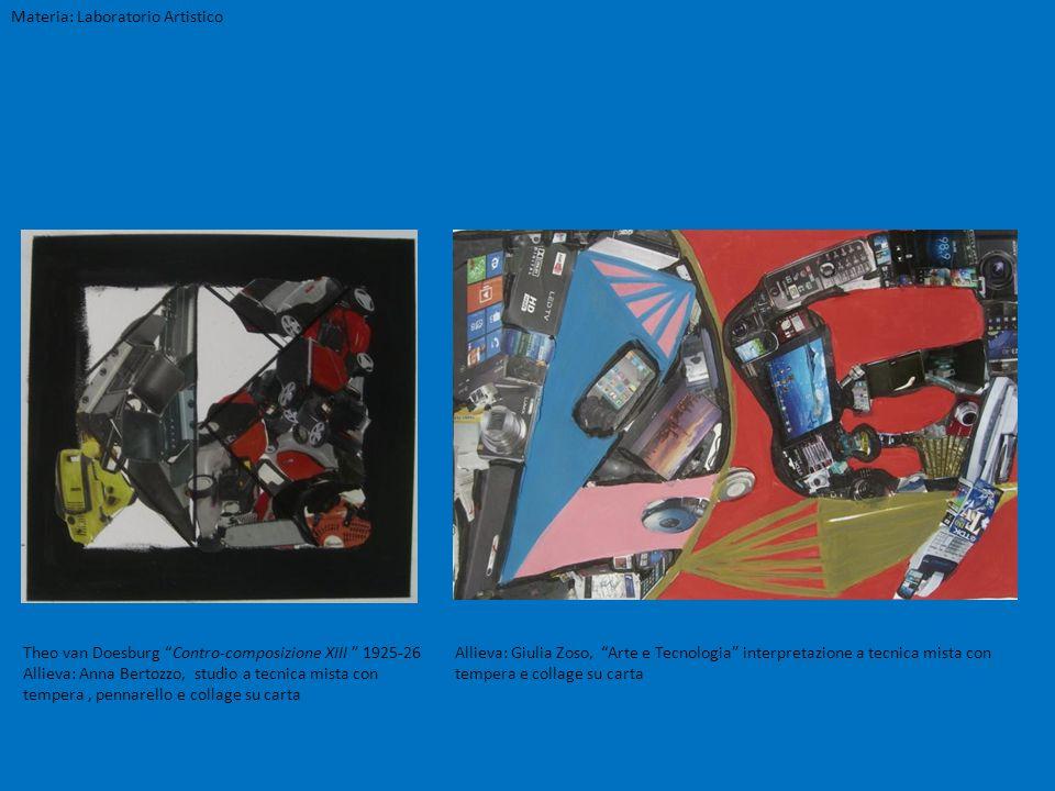 Materia: Laboratorio Artistico Theo van Doesburg Contro-composizione XIII 1925-26 Allieva: Anna Bertozzo, studio a tecnica mista con tempera, pennarel