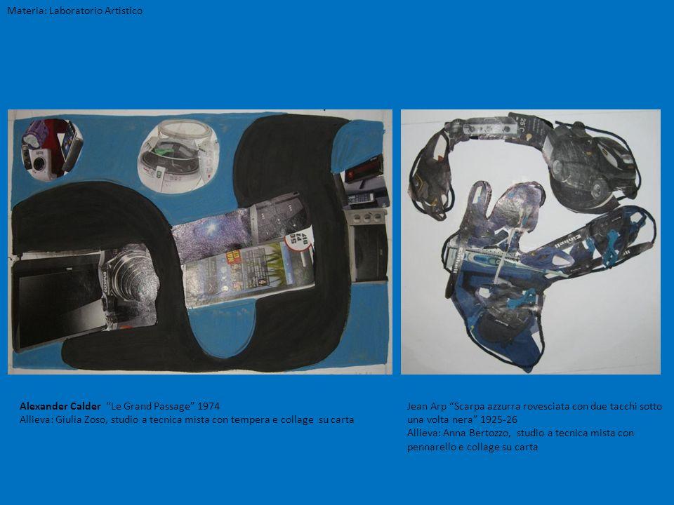 Materia: Laboratorio Artistico Jean Arp Scarpa azzurra rovesciata con due tacchi sotto una volta nera 1925-26 Allieva: Anna Bertozzo, studio a tecnica