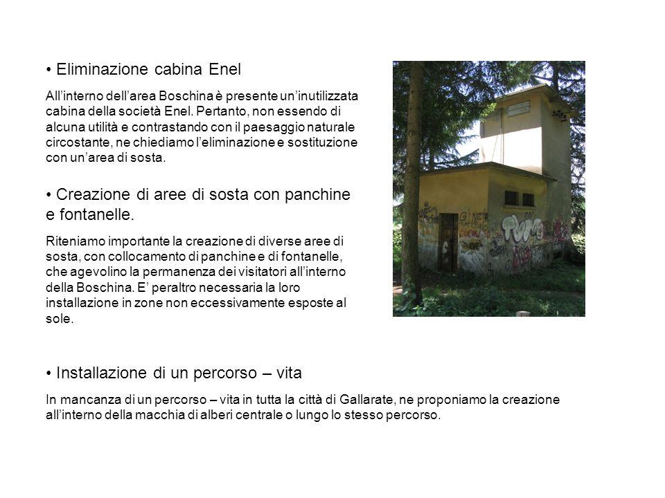 Eliminazione cabina Enel Allinterno dellarea Boschina è presente uninutilizzata cabina della società Enel. Pertanto, non essendo di alcuna utilità e c