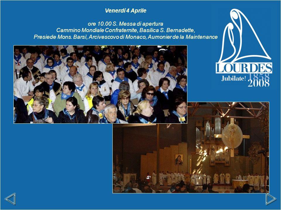 Venerdì 4 Aprile ore 10.00 S. Messa di apertura Cammino Mondiale Confraternite, Basilica S.