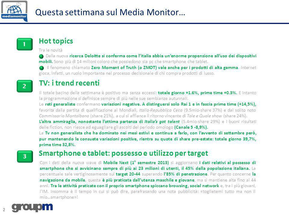 2 Questa settimana sul Media Monitor… Hot topics TV: i trend recenti Tra le novità Dalla nuova ricerca Deloitte si conferma come lItalia abbia unenorm