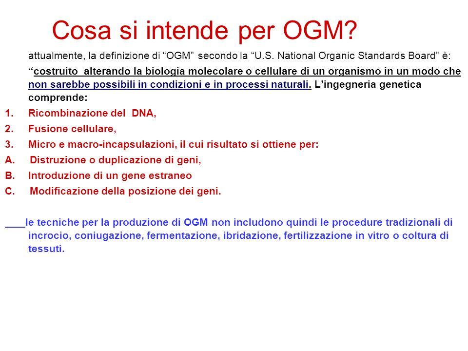 Cosa si intende per OGM.attualmente, la definizione di OGM secondo la U.S.