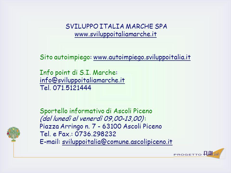 SVILUPPO ITALIA MARCHE SPA www.sviluppoitaliamarche.it Sito autoimpiego: www.autoimpiego.sviluppoitalia.it Info point di S.I. Marche: info@sviluppoita