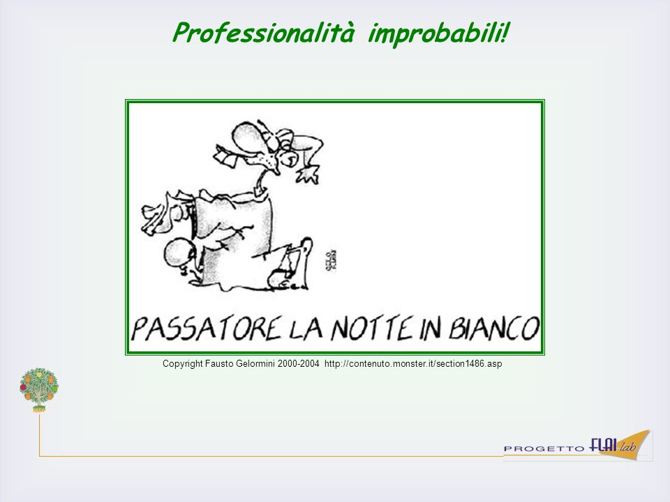 Copyright Fausto Gelormini 2000-2004 http://contenuto.monster.it/section1486.asp Professionalità improbabili!