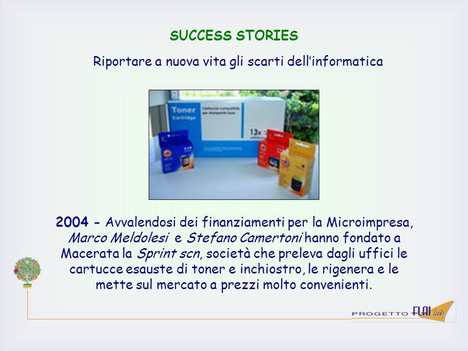 SUCCESS STORIES 2004 - Avvalendosi dei finanziamenti per la Microimpresa, Marco Meldolesi e Stefano Camertoni hanno fondato a Macerata la Sprint scn,