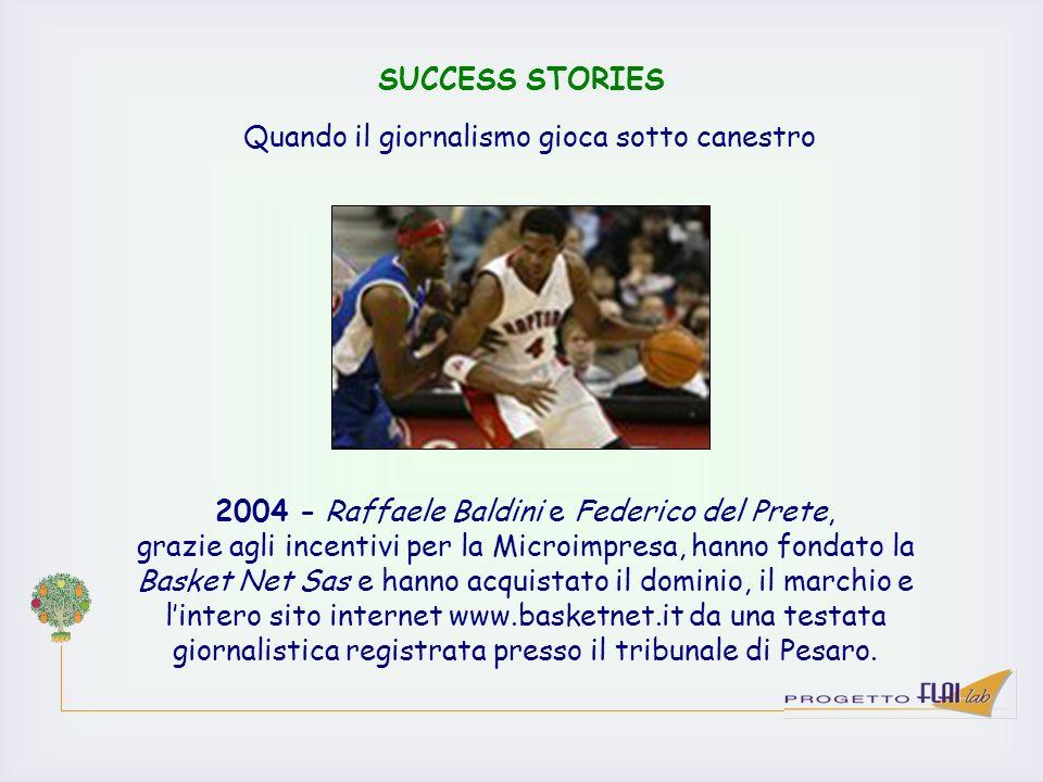 SUCCESS STORIES 2004 - Raffaele Baldini e Federico del Prete, grazie agli incentivi per la Microimpresa, hanno fondato la Basket Net Sas e hanno acqui