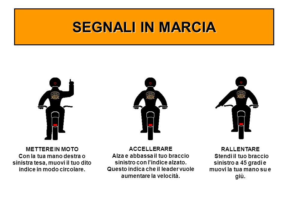 SEGNALI IN MARCIA METTERE IN MOTO Con la tua mano destra o sinistra tesa, muovi il tuo dito indice in modo circolare. ACCELLERARE Alza e abbassa il tu