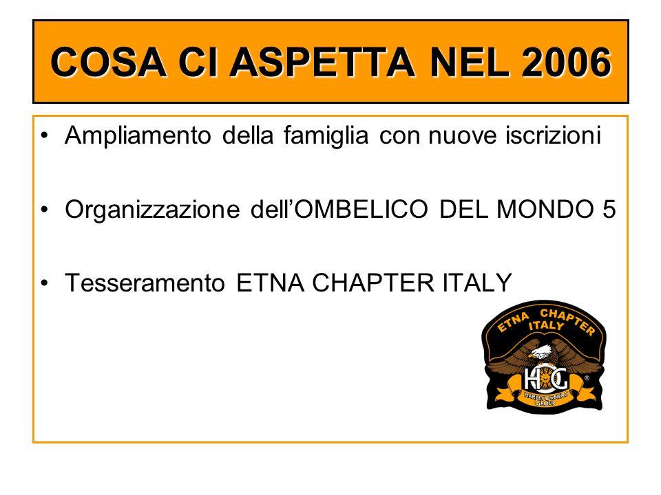 COSA CI ASPETTA NEL 2006 Ampliamento della famiglia con nuove iscrizioni Organizzazione dellOMBELICO DEL MONDO 5 Tesseramento ETNA CHAPTER ITALY