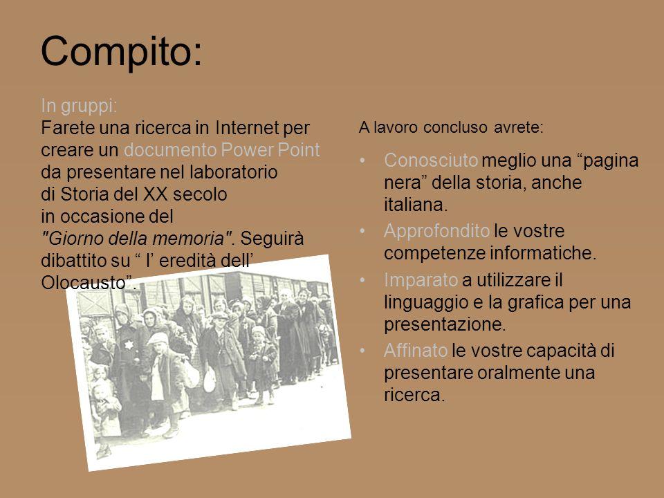 Compito: Conosciuto meglio una pagina nera della storia, anche italiana. Approfondito le vostre competenze informatiche. Imparato a utilizzare il ling