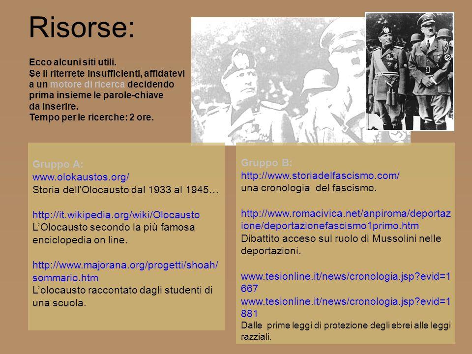 Gruppo B: http://www.storiadelfascismo.com/ una cronologia del fascismo. http://www.romacivica.net/anpiroma/deportaz ione/deportazionefascismo1primo.h