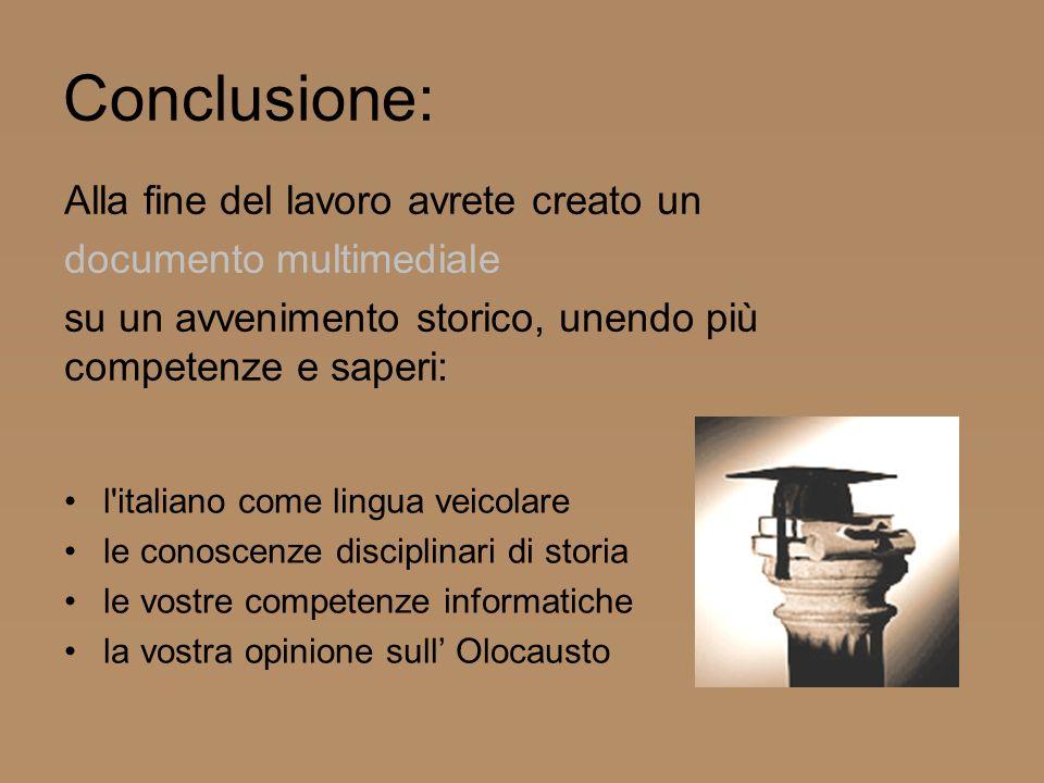 Conclusione: l'italiano come lingua veicolare le conoscenze disciplinari di storia le vostre competenze informatiche la vostra opinione sull Olocausto