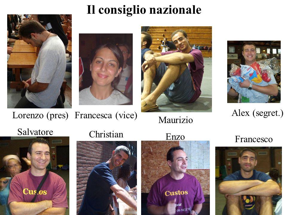 Il consiglio nazionale Lorenzo (pres) Maurizio Alex (segret.) Francesco Enzo Christian Salvatore Francesca (vice)