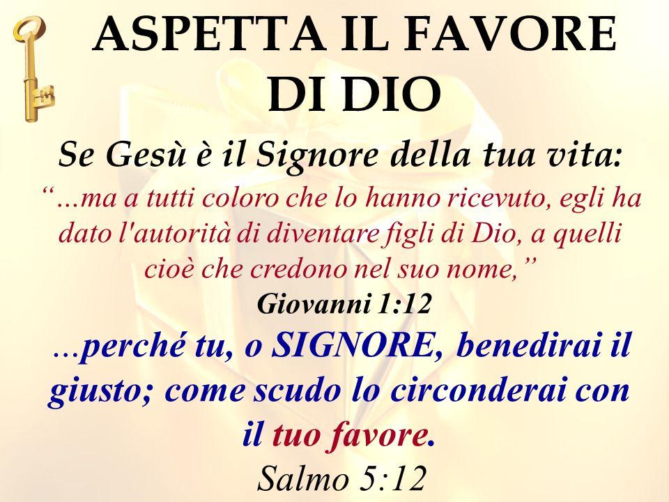 Il favore di Dio, dice che tu piaci Dio.La Tua fede in Gesú, ti rende gradito a Dio.