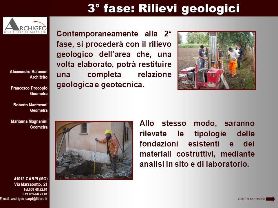 3° fase: Rilievi geologici Alessandro Balucani Architetto Francesco Procopio Geometra Roberto Mantovani Geometra Marianna Magnanini Geometra 41012 CAR