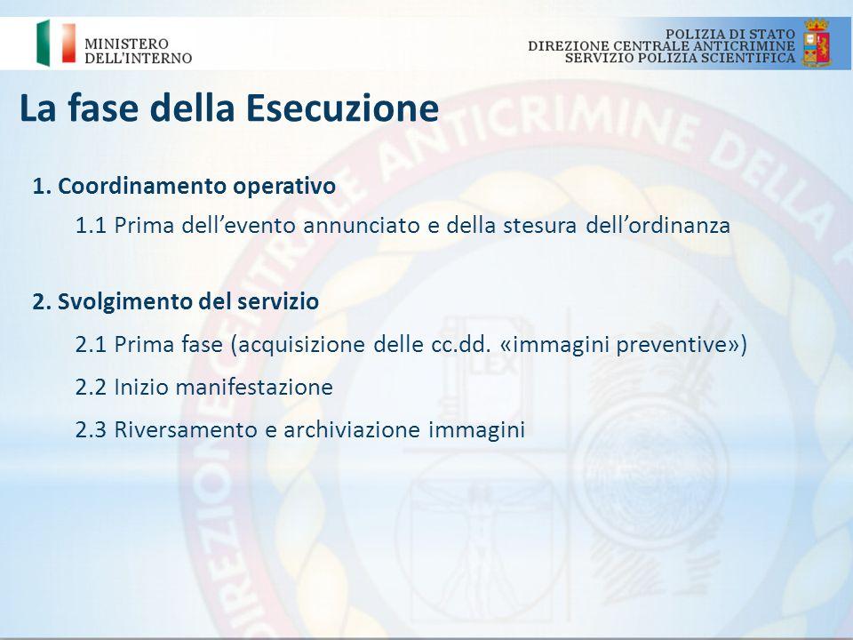 La fase della Esecuzione 1. Coordinamento operativo 1.1 Prima dellevento annunciato e della stesura dellordinanza 2. Svolgimento del servizio 2.1 Prim