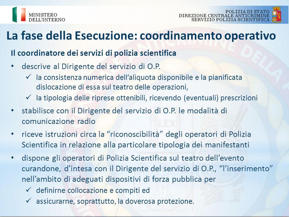 La fase della Esecuzione: coordinamento operativo Il coordinatore dei servizi di polizia scientifica descrive al Dirigente del servizio di O.P. la con