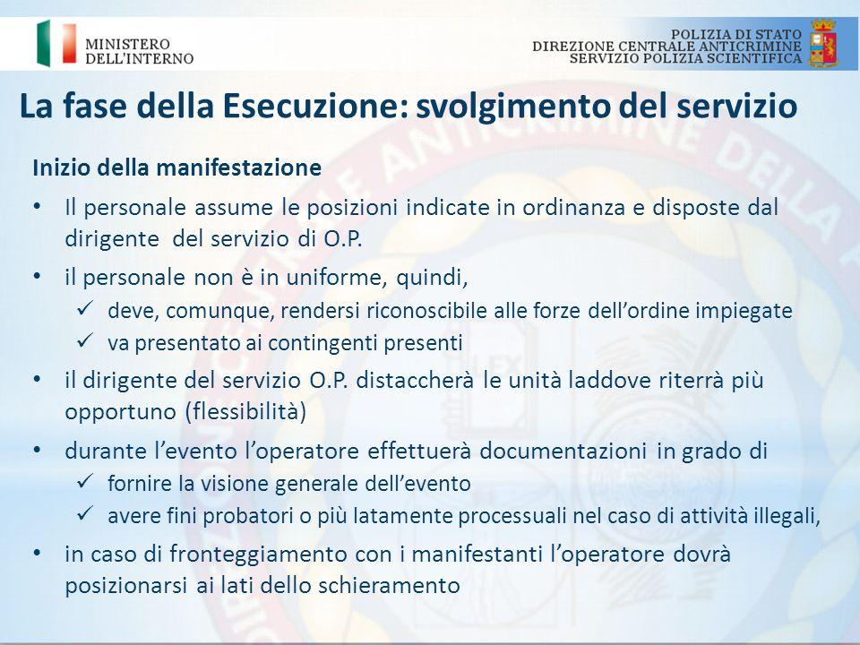 La fase della Esecuzione: svolgimento del servizio Inizio della manifestazione Il personale assume le posizioni indicate in ordinanza e disposte dal d