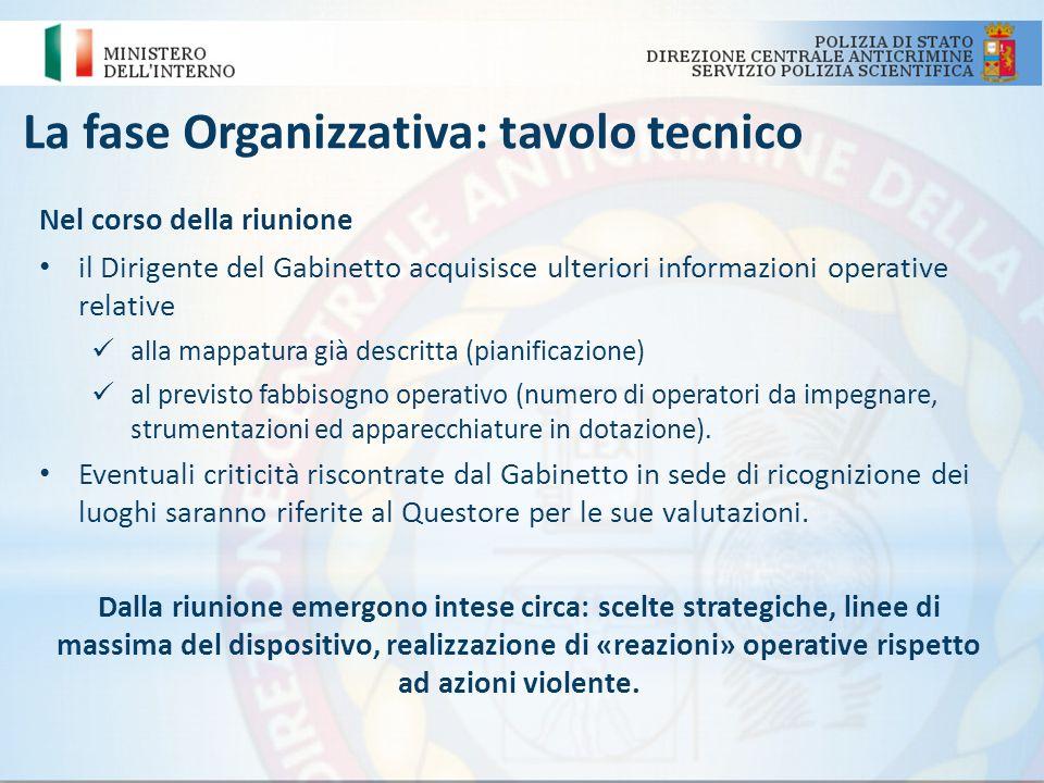 La fase Organizzativa: tavolo tecnico Nel corso della riunione il Dirigente del Gabinetto acquisisce ulteriori informazioni operative relative alla ma