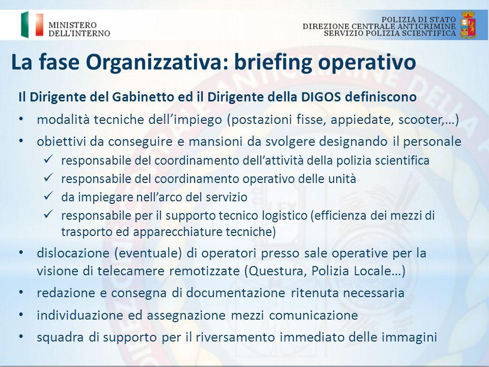 La fase Organizzativa: briefing operativo Il Dirigente del Gabinetto ed il Dirigente della DIGOS definiscono modalità tecniche dellimpiego (postazioni