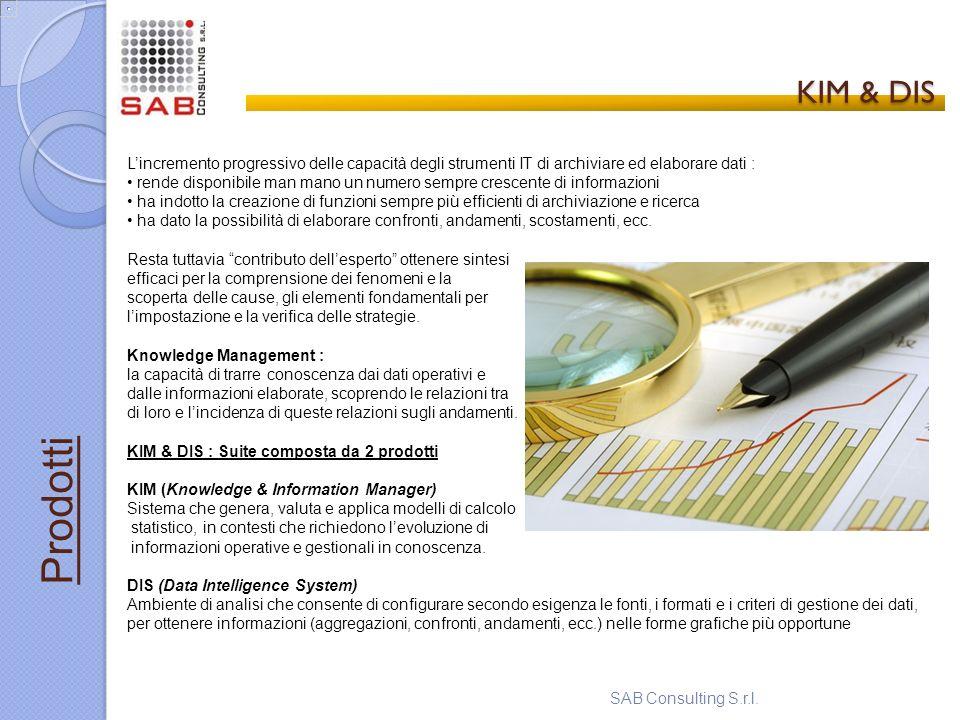 KIM & DIS KIM & DIS SAB Consulting S.r.l. Prodotti Lincremento progressivo delle capacità degli strumenti IT di archiviare ed elaborare dati : rende d